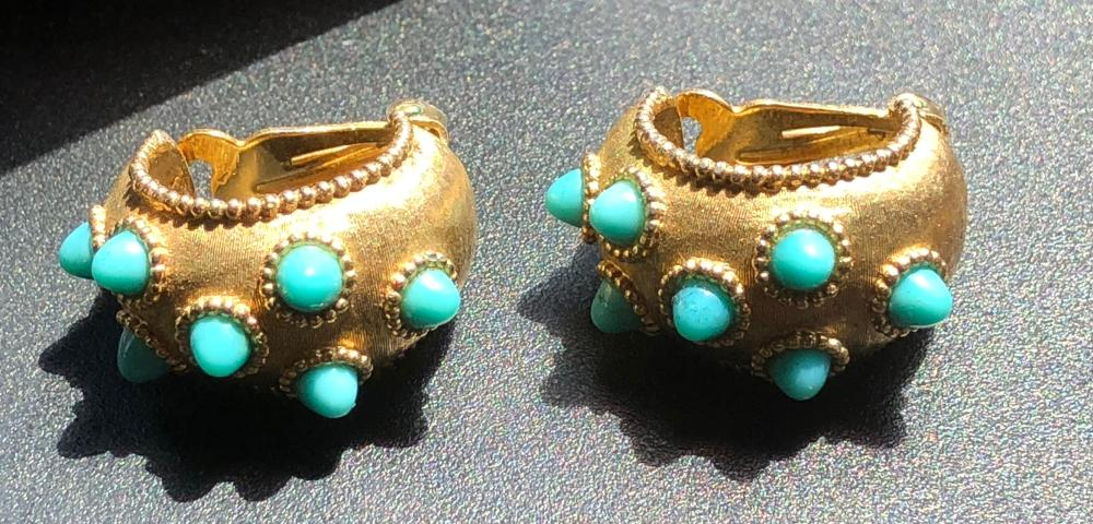 Pair of Vintage Boulder Earrings