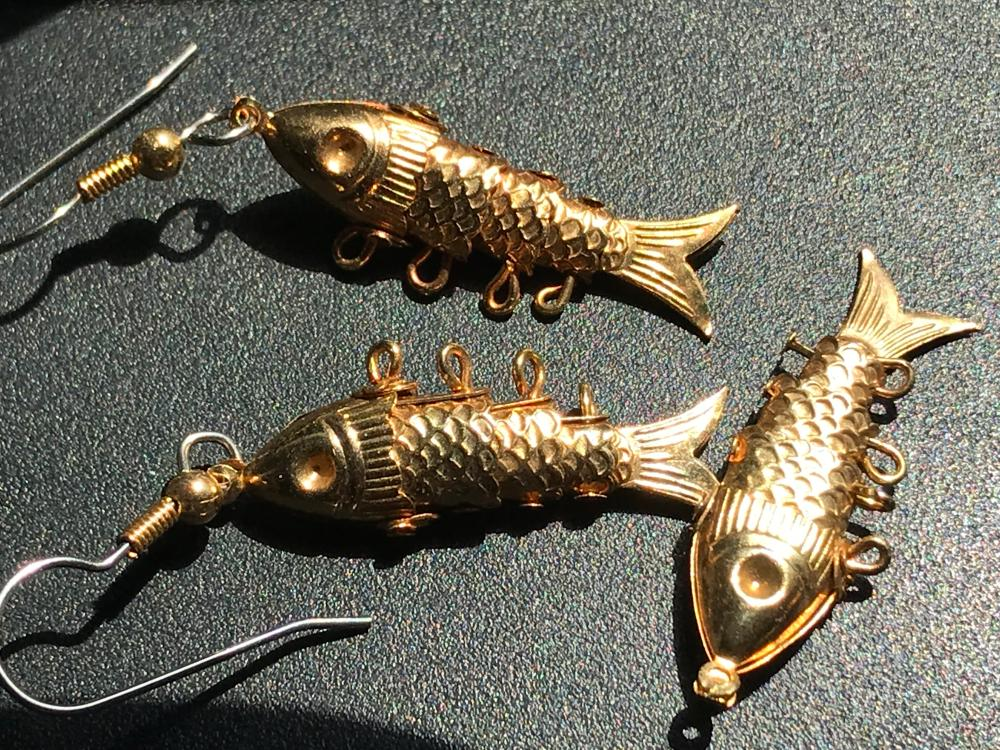 Set of Fish Earrings and Pendant