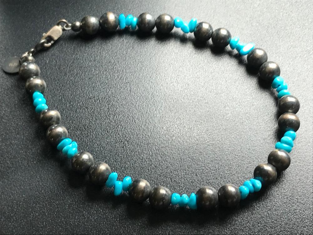 Vintage Silver Turquoise Beads Bracelet