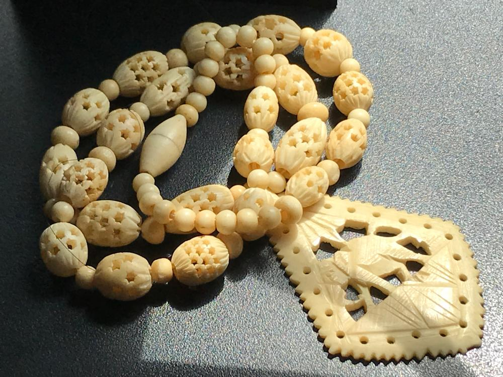 Vintage Carved Beads Necklace