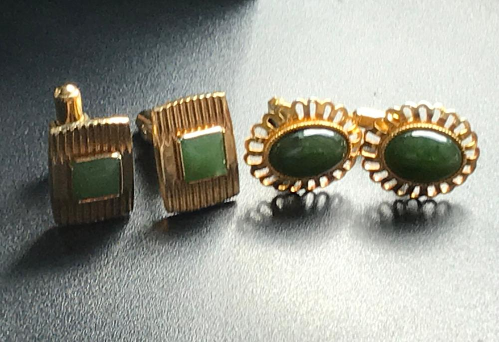 Two Green Jade Cuff Links