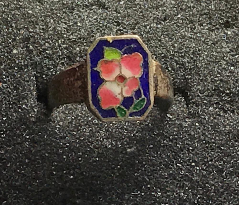 Antique Qing Dynasty Enamel Silver Ring