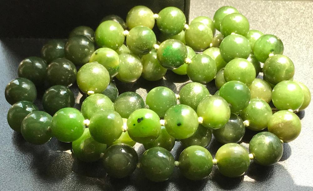 Vintage Green Jade Beads Necklace