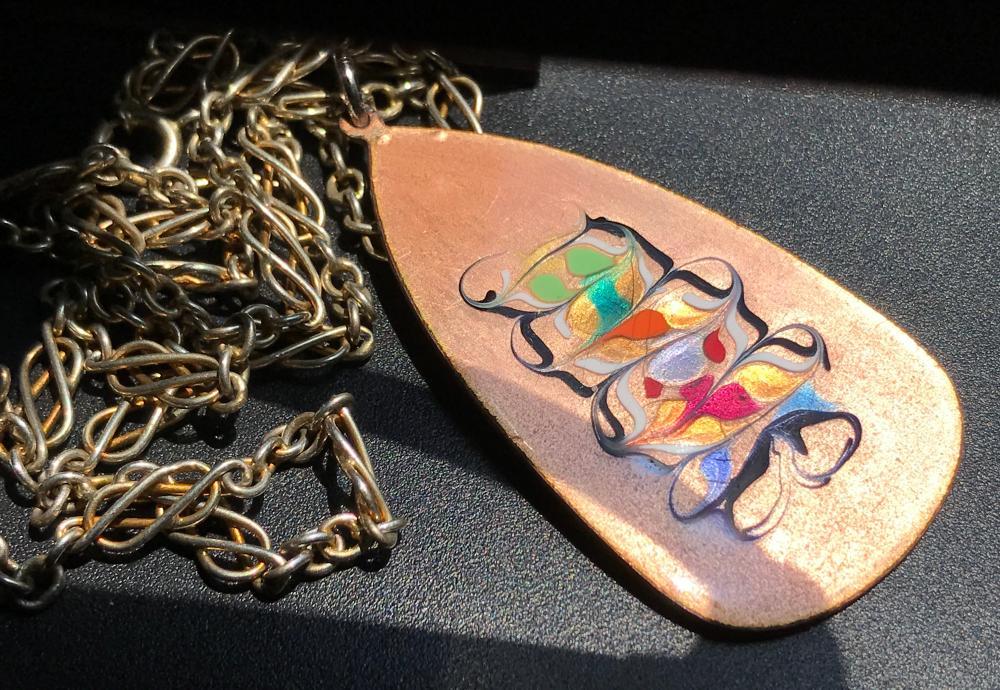 Vintage Enamel Pendant Necklace