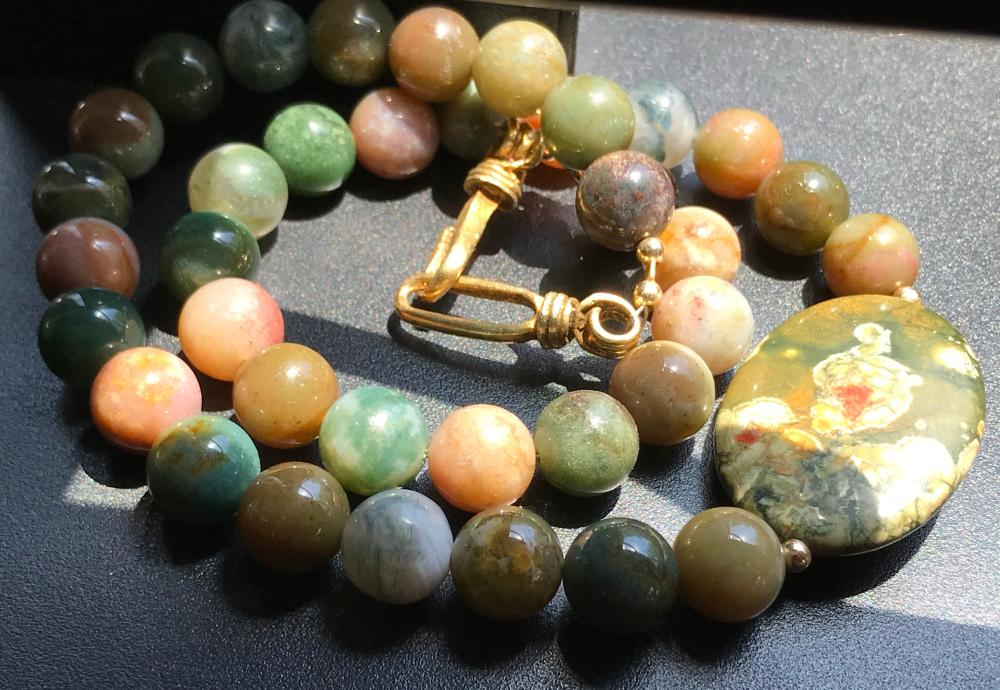 Vintage Green Carnelian Beads Necklace