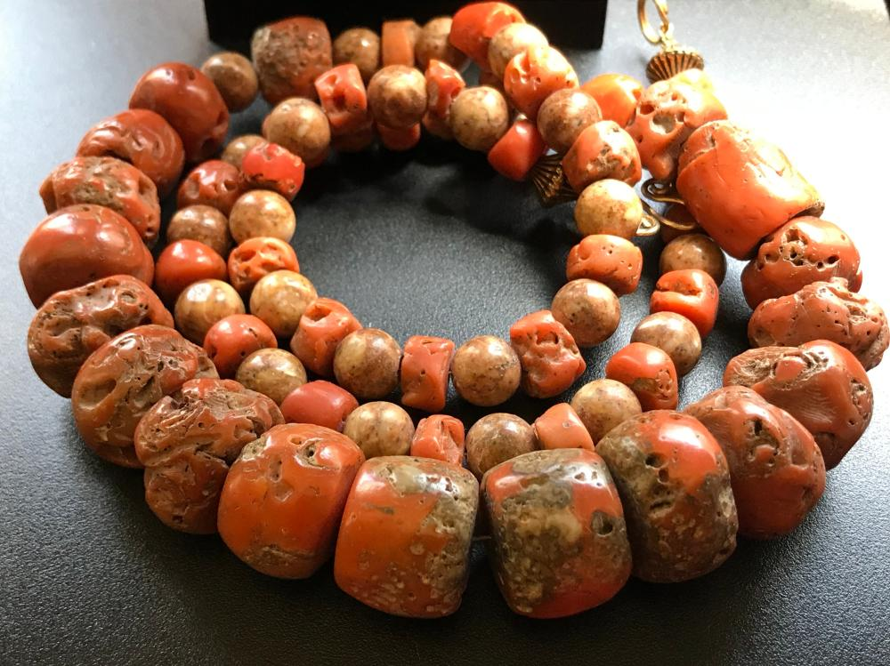 Antique Coral Beads Necklace