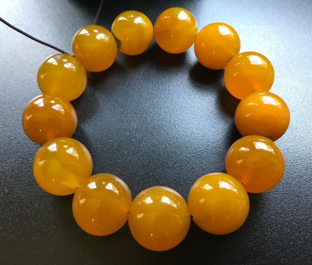 Vintage Yellow Agate Beads Bracelet