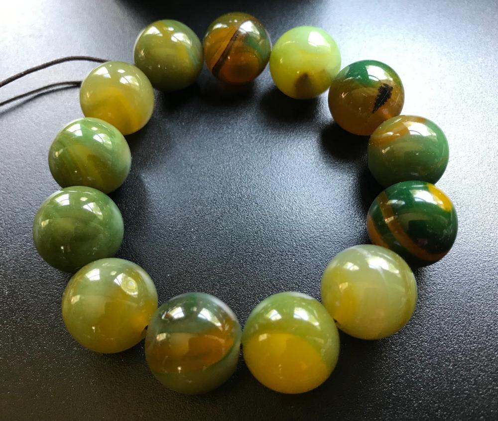 Vintage Green Agate Beads Bracelet