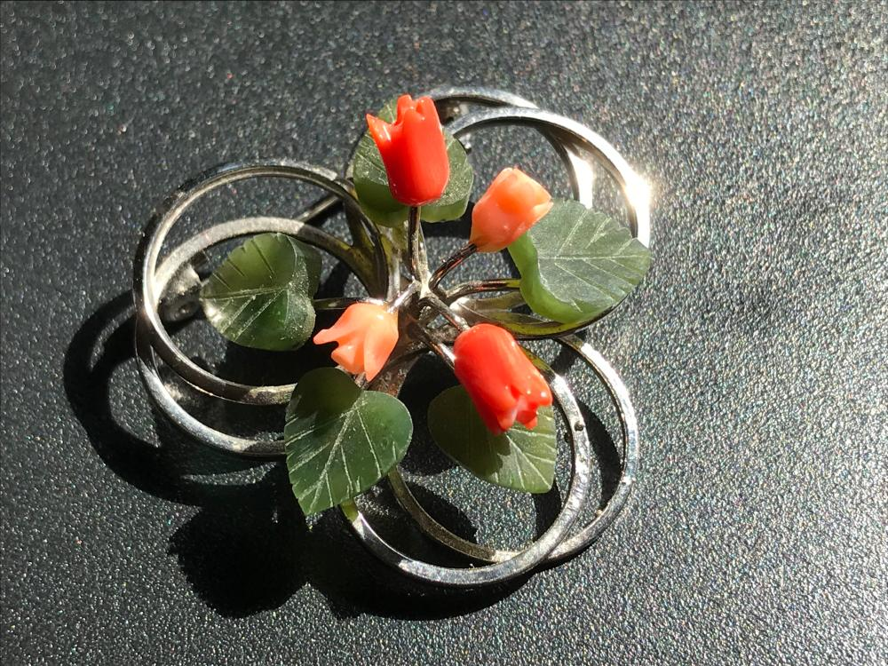Vintage Coral and Jade Brooch Pin