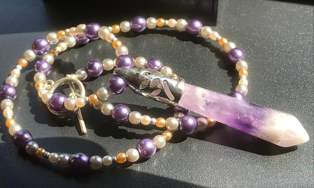 Vintage Necklace with Amethyst Pendant