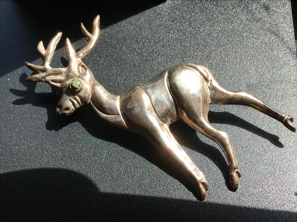 Vintage Silver Deer Brooch Pin