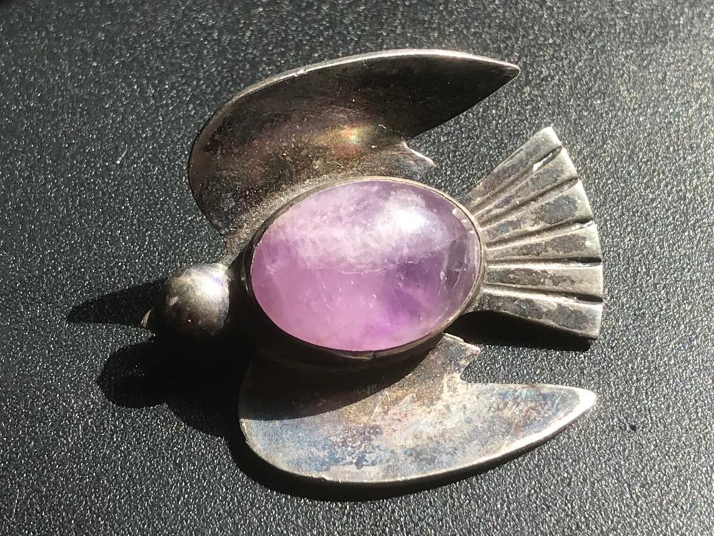 Vintage Silver Amethyst Bird Brooch Pin