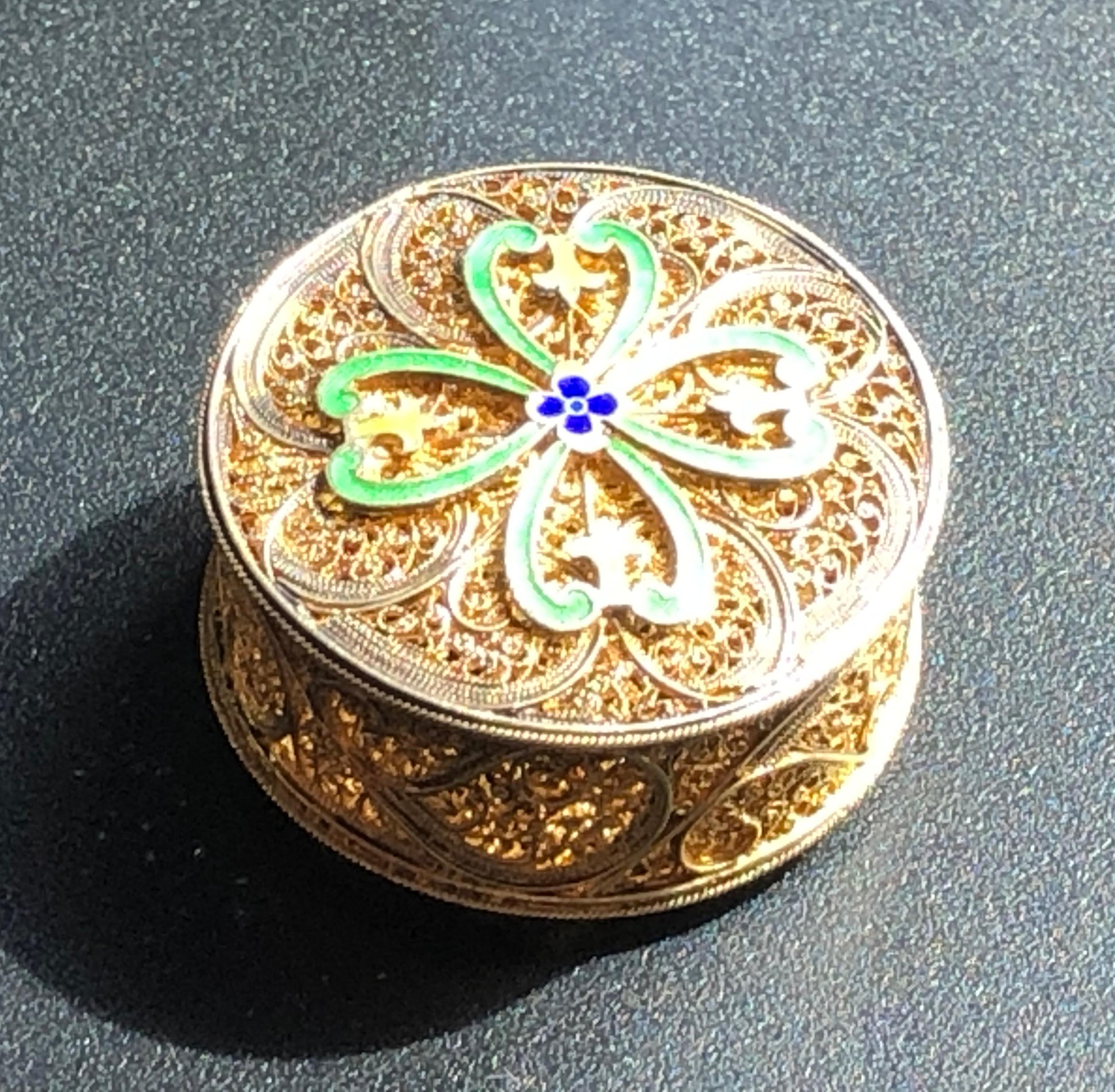 Vintage Gold Filled Silver filigree Box