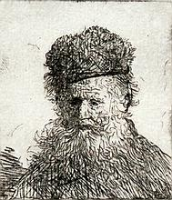 Rembrandt Harmensz van Rijnst Bust of an Old Man with a Fur Cap and Flowing Beard, Nearly Full Face