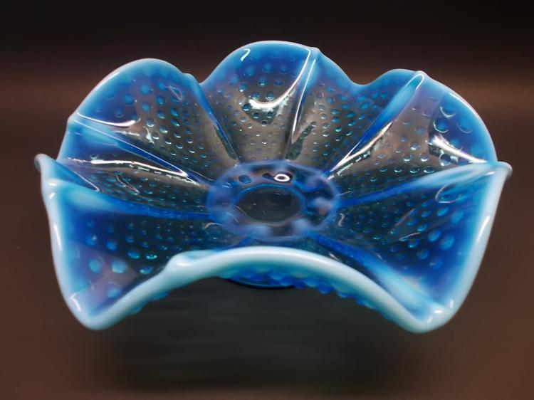 Vintage Large Blue Opal Shallow Bowl