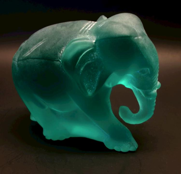 Fenton Teal Satin Working Elephant