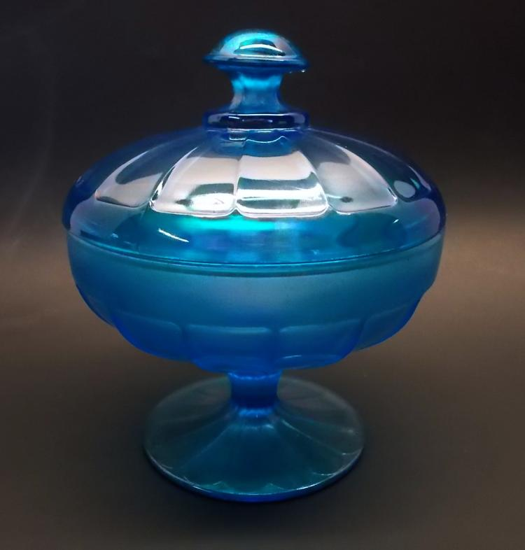 Fenton Teal Iridized Covered Candy