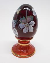 Fenton Donna Robinson Cranberry Painted Egg ~