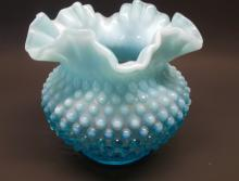 Fenton Blue Hobnail Opalescent Bowl ~