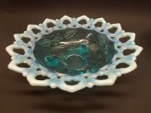 Vintage Blue Opalescent Open Rim Bowl
