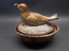 Mid Century Carmel Slag Bird on a Nest