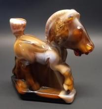 Vintage Imperial Glass Carmel Slag Plug horse