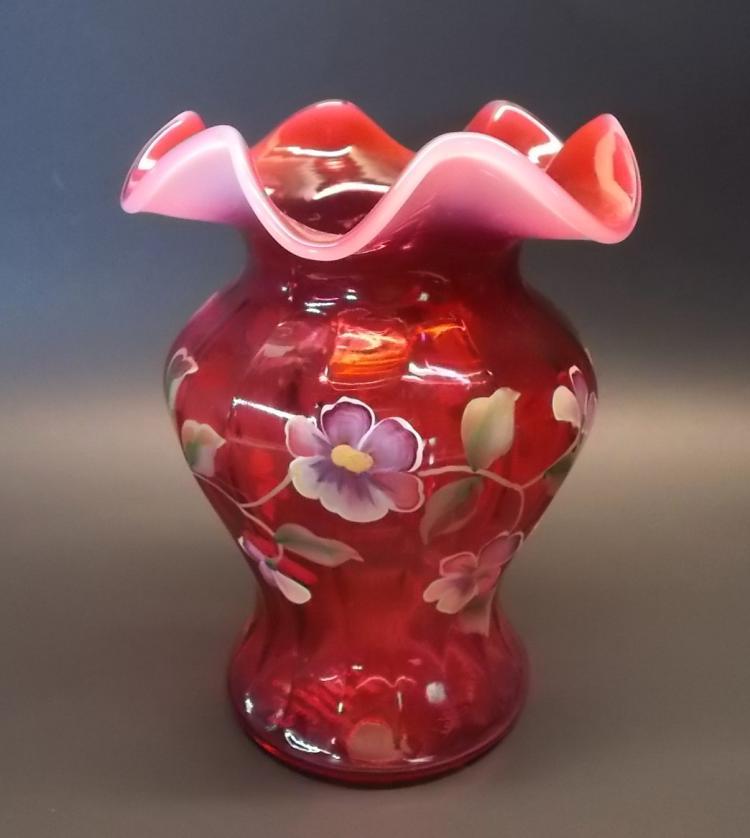 Fenton Pansy Cranberry Vase
