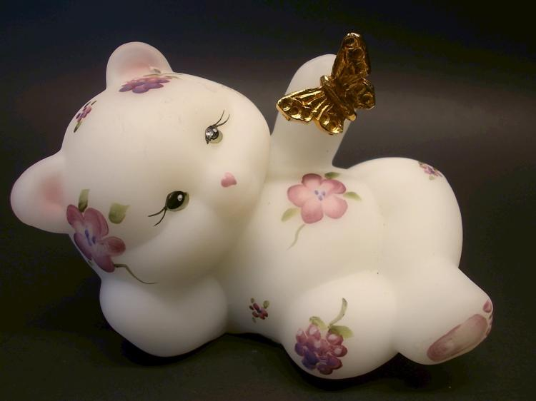 Fenton Florals an Berries Satin Bear with Butterfly