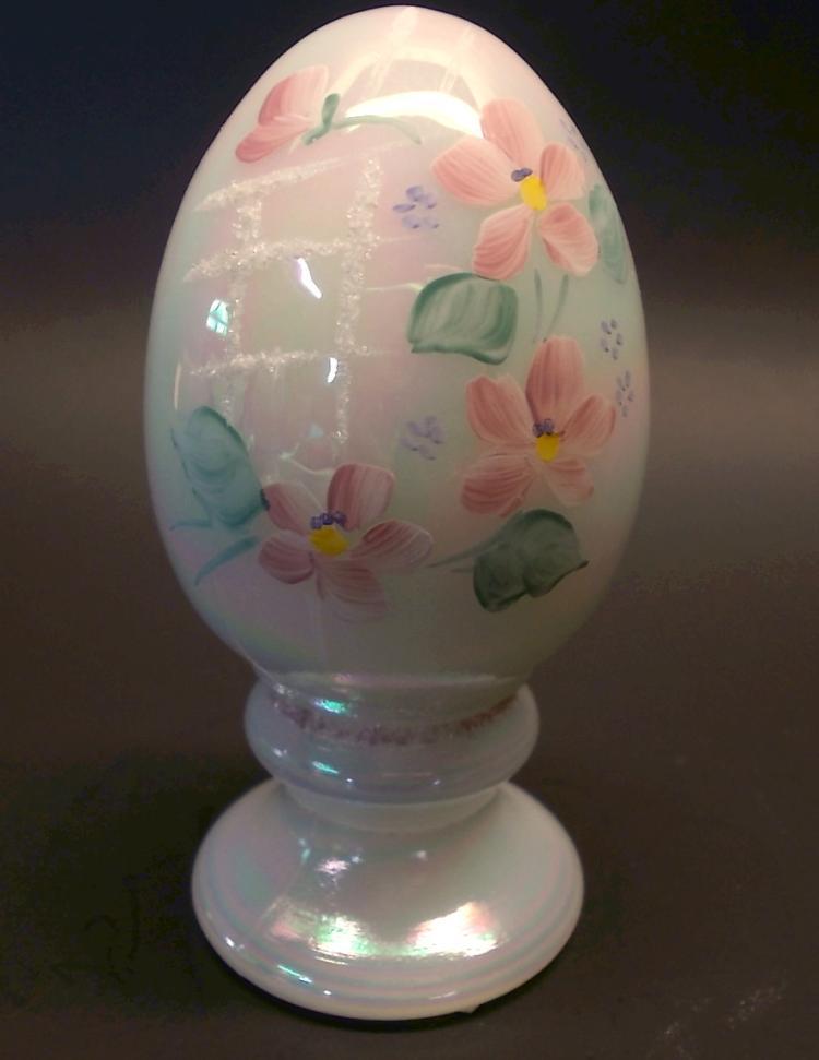 Fenton Rainbow Iridized Trellis Egg
