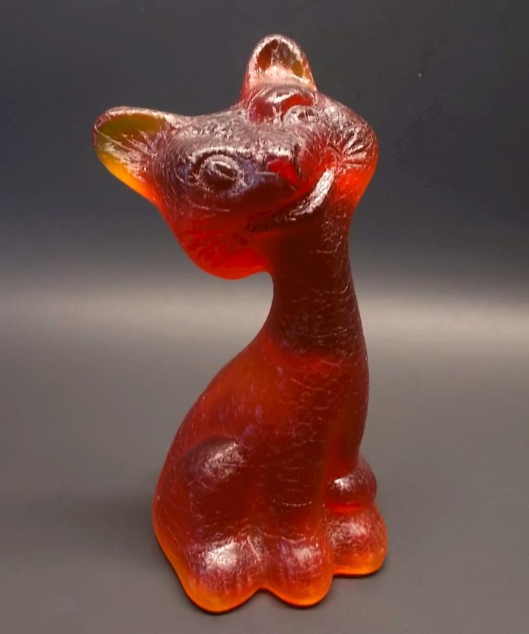 Fenton Textured Amberina Happy Cat