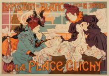 Original 1898 Poster by Thiriet - Exposition de Blanc a La Place Clichy