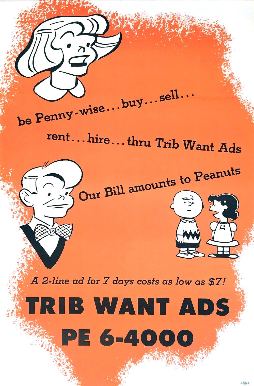 Original Charles Schulz Peanuts Be Penny Wise Vintage Poster for the Chicago Tribune Want Ads