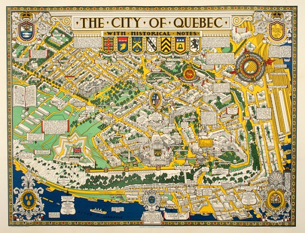 THE CITY OF QUEBEC MAP 1932 ORIGINAL VINTAGE POSTER