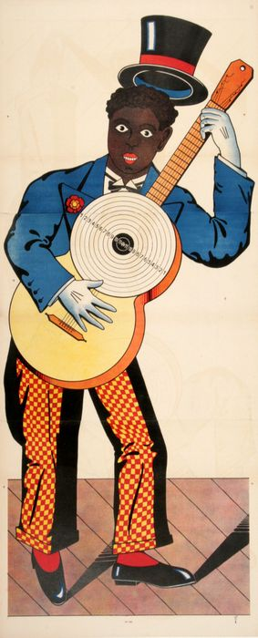 ORIGINAL ANTIQUE WISSEMBOURG POSTER MAN WITH TARGET AND GUITAR 182 C1880