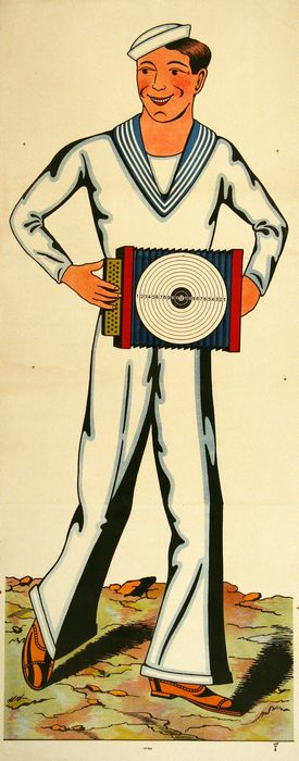 ORIGINAL ANTIQUE WISSEMBOURG POSTER SAILOR ACCORDION 184 C1880