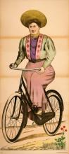 ORIGINAL ANTIQUE WISSEMBOURG POSTER WOMAN ON BICYCLE 74  C1880