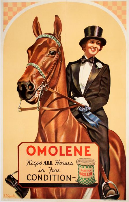 ORIGINAL VINTAGE EQUESTRIAN POSTER OMOLENE - PURINA BY KISSACK 1935