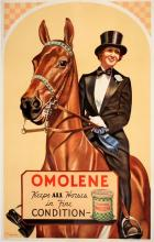 ORIGINAL VINTAGE EQUESTRIAN POSTER OMOLENE - PURINA BY KISSACK 1935