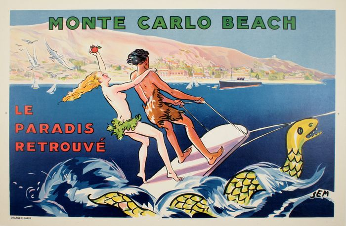 ORIGINAL VINTAGE FRENCH TRAVEL POSTER MONTE CARLO BEACH BY SEM 1935