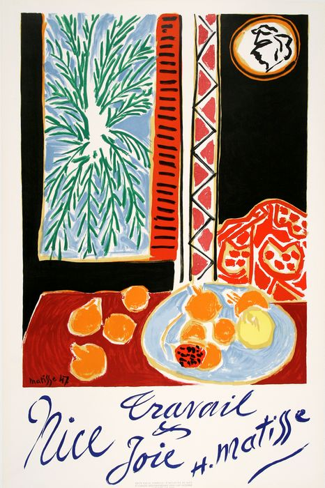 ORIGINAL VINTAGE FRENCH TRAVEL POSTER NICE TRAVAIL ET JOIE BY HENRI MATISSE 1947