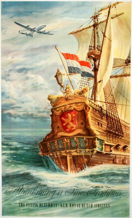 ORIGINAL VINTAGE KLM AIRLINE POSTER- THE FLYING DUTCHMAN BY JOOP VAN HEUSDEN 1950