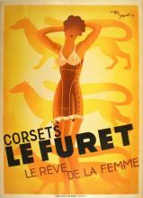 ORIGINAL VINTAGE LINGERIE POSTER CORSETS LE FURET BY PEROT 1933 ART DECO