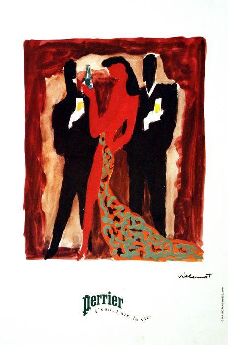 ORIGINAL VINTAGE PERRIER TRIO POSTER BY BERNARD VILLEMOT 1983