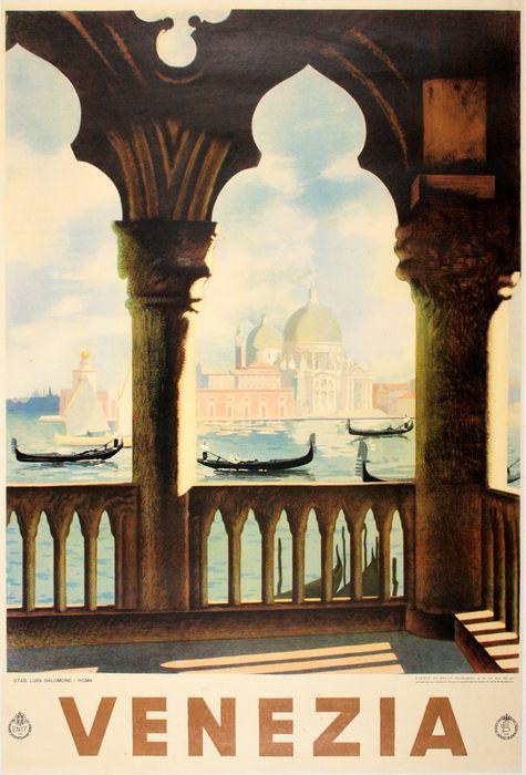 ORIGINAL VINTAGE VENICE TRAVEL POSTER VENEZIA - COLUMNS BY SALAMONE 1938 ITALIAN