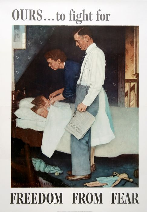 ORIGINAL VINTAGE WWII POSTER FREEDOM FROM FEAR - LARGE BY NORMAN ROCKWELL 1943