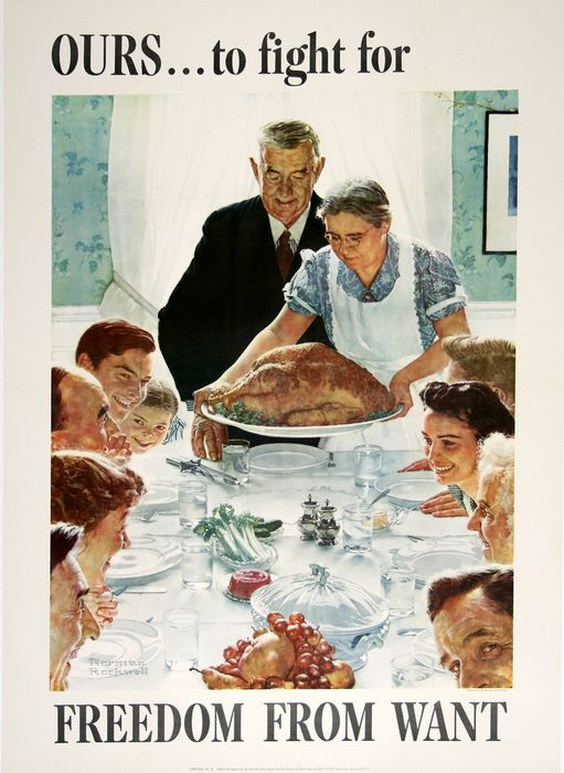 ORIGINAL VINTAGE WWII POSTER FREEDOM FROM WANT - LARGE BY NORMAN ROCKWELL 1943