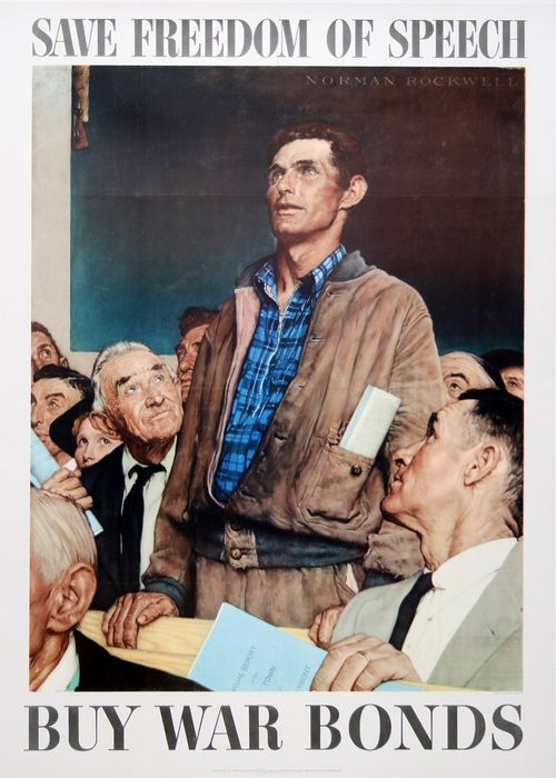 ORIGINAL VINTAGE WWII POSTER FREEDOM OF SPEECH - LARGE BY NORMAN ROCKWELL 1943