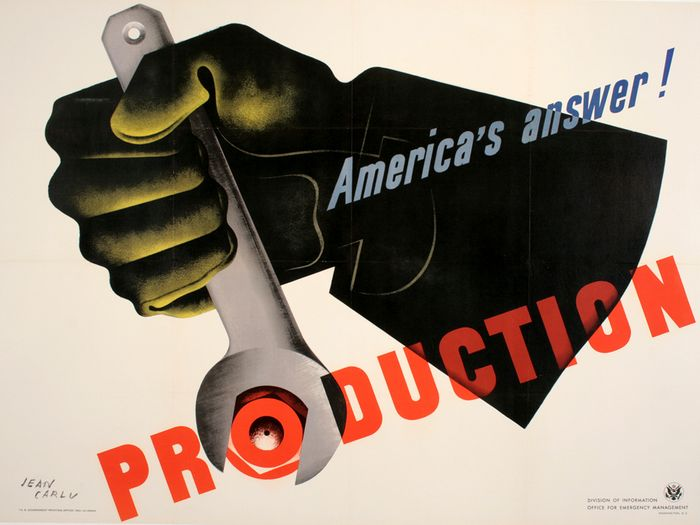 ORIGINAL VINTAGE WWII POSTER PRODUCTION - LARGE BY JEAN CARLU 1941