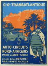 ORIGINAL VINTAGE POSTER CGT AUTO CIRCUITS NORD AFRICAINS BIBENDUM BY BRODERS 1922
