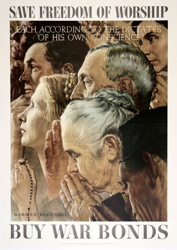 FREEDOM OF WORSHIP - LARGE ORIGINAL VINTAGE WWII POSTER BY NORMAN ROCKWELL 1943